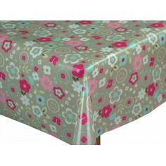 Retro taupe Floral Cotton Oilcloth Tablecloth