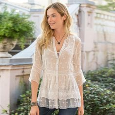 """MISTY DREAMS TUNIC--Pure romance: diaphanous silk georgette with embroidery, lace and an inset ruffle at the hemline. Matching camisole included. Dry clean. Imported. Sizes XS (2), S (4 to 6), M (8 to 10), L (12 to 14), XL (16). Approx. 28-3/4""""L. For easier fit, please buy one size up."""