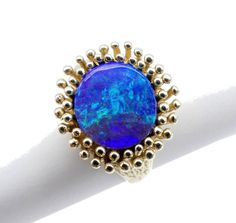 GOLD JEWELLERY, SOLID 9 CARAT GOLD RING, SOLID BOULDER OPAL 8678 #Unbranded #Rings