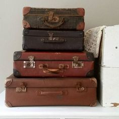#feelingathome #brocante #vintage #antique #french #suitcases #vintagesuitcase  These great vintage suitcases will soon be online. ♡ www.feelingathome.nl