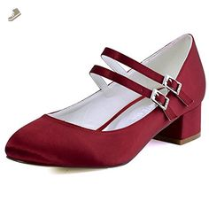 ElegantPark FC1615 Women Closed Toe Chunky Heel Mary Jane Pumps Satin Evening Wedding Dress Shoes Burgundy US 10 - Elegantpark pumps for women (*Amazon Partner-Link)