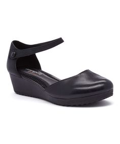 Look what I found on #zulily! Black Keondra Leather Wedge #zulilyfinds