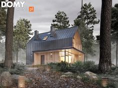 Mały dom - mały problem, czyli dom wolnostojący do 100 m2 Style At Home, 100 M2, Black House, Simple House, Home Projects, Building A House, House Plans, New Homes, Floor Plans
