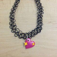 Items similar to Heart Emoji Tattoo Choker / Tattoo Choker / Charm Choker / Emoji Choker / Tattoo Emoji Choker / Charm Tattoo Choker / Choker on Etsy Tattoo Choker Necklace, Choker Jewelry, Necklace Charm, Choker Necklaces, Emoji Tattoo, Chokers For Kids, Charm Tattoo, Heart Emoji, Cute Boots