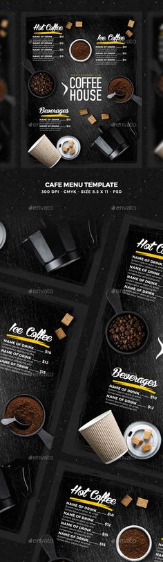 Cafe Menu by Nikolaev_ws File info:Flyer Name: Cafe MenuSize: Letter with bleedMode: CMYKFiles included: 1 PSD Editable FileUsed Fonts Name Food Menu Template, Restaurant Menu Template, Restaurant Menu Design, Menu Templates, Print Templates, Cafe Menu Design, Food Menu Design, Steak Menu, Japanese Menu