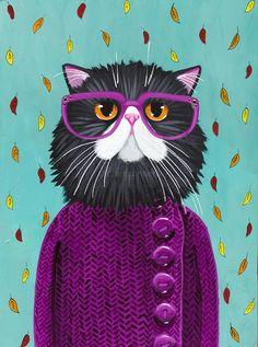 GATO nuevo otoño capa Original Cat arte popular pintura del arte
