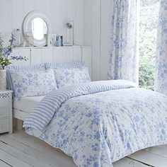 From 42.97 Classic Charlotte Thomas Amelie Bedding Duvet Cover 2 Pillowcases Set Blue - Super King Size