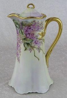 Haviland Chocolate Pot with Lilacs