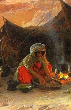 Bedouins in the Desert. Detail. Eugene Alexis Girardet (French 1853-1907).