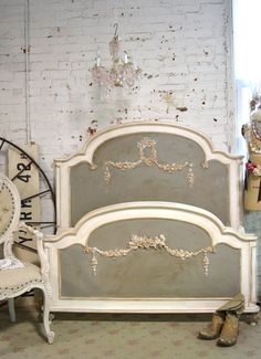 I really like this color combo!: Painted Cottage Pink Romantic French Bed SSBD25 by paintedcottages