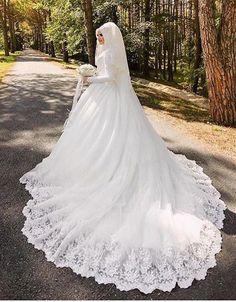 Vestido De Noiva Arabic Muslim Luxury Long Sleeve Wedding Dress With Hijab Veil Lace