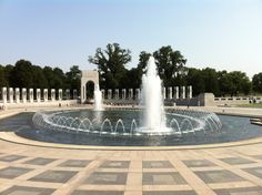 The National World War II Memorial was dedicated in 2004 to the 400,000 Americans who died during the war. A circle of 56 pilings (representing the then 56 U.S. states and territories) looks in on a pool.
