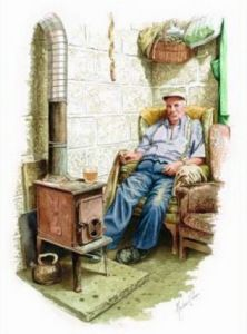 Marcus Govier holding court in his shed at his cider orchard.Prints still available