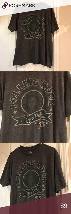 ROLLING ROCK men's size large tshirt Does he love ROLLING ROCK. Some men do? Very good preworn condition: no rips, stains, holes or tears. Great shirt for beer lovers. original products Shirts Tees - Short Sleeve