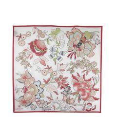 White Christelle Print Silk Scarf