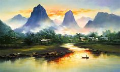 Chinese-American painter Ken Hong Leung, often referred to simply as H. Leung, creates beautiful landscapes illuminated by rainbow-hued washes of light. The touch of colorful vibrance add a hint of magic to each environment. There is an engagingly unearthly quality to his natural landscapes that draws the viewer's