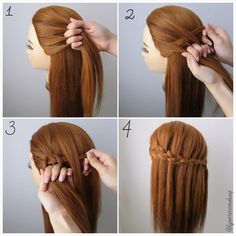 Dutch Four Strand Waterfall Braids ❤️ Check out the steps below :- 1.Divide into 4 equal section 2.Start braid from the left by under, over, under 3.Between dropping through the hair 4.Keep braiding until desired length & finish  Happy braiding ❤️ #hair #pictorial