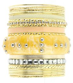 Metal Gold Bright w/crystals 19 pc Bangle Set   $15.00