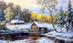 Водянная мельница в зимнем лесу - Схемы вышивки - Нина1976 - Авторы - Портал «Вышивка крестом»