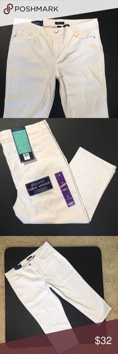 "NWT Bandolino Selene Capri Jeans White Size 16 Brand new with tags! Super cute and soft white Selene Jean Capris from Bandolino. 98% Cotton, 2% Elastine.  * 22"" inseam * 19"" waist flat * 11"" inseam * Button closure, zip closure, belt loops * Classic 5-pocket styling * Relaxed fit * Denim fabric * Machine washable Bandolino Jeans Ankle & Cropped"