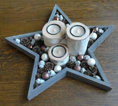 ster bak en boomstam kaarsen met decoratie alles van de Action