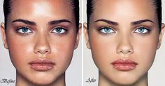Adriana Lima, whose retouched face and eyelashes were used to sell Maybelline cosmetics to women from 2003 to 2009. Both photographs are airbrushed, one more than the other. Compare to her un-Photoshopped image on this board. #airbrushing #fake #unrealistic #beauty