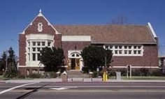 Temescal Branch, Oakland Public Library, 1918, Donovan and Dickey chose the Tudor style for the (originally named) Alden branch, and it is the remaining example of California's two Tudor style Carnegies. It is located on the northwest corner of 52nd Street and Telegraph Avenue near the intersection with Claremont Avenue.