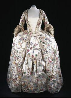 Lady Caroline's sack-back gown and petticoat of painted Chinese silk ,1767. She also wears a matching stomacher (not shown)