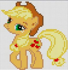 Free my little pony cross stitch | Applejack Sprite by ~Bobbeyjazz on deviantART