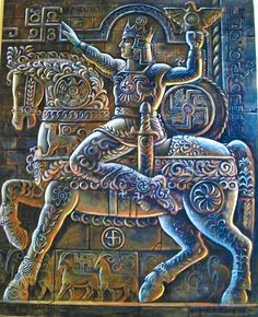 """ARAMAZD (Արամազդ), was the principal deity in Armenia's pre-Christian pantheon. He displaced Amanor and Vanatur at the top of the pantheon. Called the father of all the gods and goddesses, Aramazd created the heavens and the earth. The first two letters in his name, """"AR"""", are the Armenian root for sun, light, and life. Worshiped as a sun-god, Aramazd was considered to be the source of earth's fertility, making it fruitful and bountiful. The feast in his honor was called Amanor (Am'nor)."""