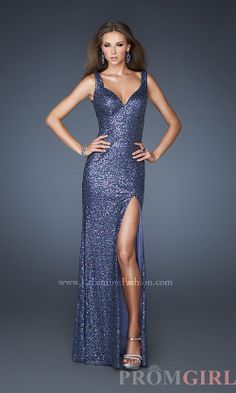 Prom Dresses, Celebrity Dresses, Sexy Evening Gowns - PromGirl: Long V-Neck Sequin Dress