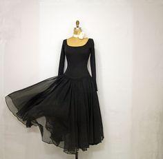 Vintage Norma Kamali Chiffon Dress/ 1980's Norma Kamali Black Dress/ Vintage Stretch Knit & Chiffon Gown on Etsy, $112.00