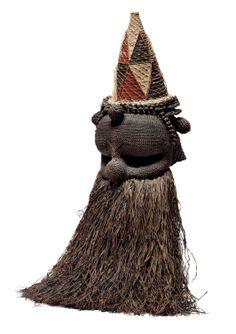 Africa | A Salampasu mask, DR. Congo.  fiber and pigments.