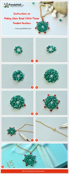 How to DIY Glass Bead Stitch Flower Pendant Necklace The main materials of the necklace are glass beads and fishing wires. The making way is to thread the beads into a flower shape. Just have a try!