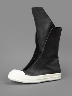 RICK OWENS BOOT SNEAKERS WITH SIDE ZIP CLOSURE