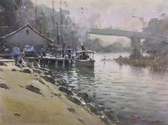 Joseph Zbukvic - The Old Steamer Watercolor Water, Watercolor Landscape Paintings, Watercolor Artists, Joseph Zbukvic, Impressionist Landscape, Sculpture Art, Art Gallery, Illustration Styles, Water Colors