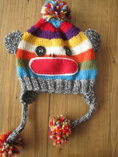 Free crochet pattern to make this sock monkey hat.