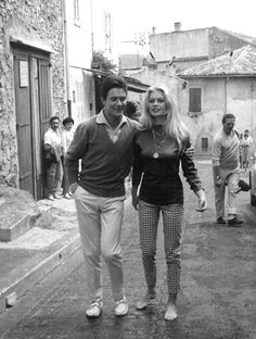 Brigitte and husband Jacques Charrier in St Tropez on their honeymoon, 1959.