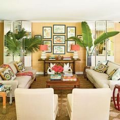 Interior Tropical, Sala Tropical, Tropical Home Decor, Tropical Houses, Tropical Furniture, Tropical Colors, Tropical Style, Coastal Furniture, Tropical Leaves