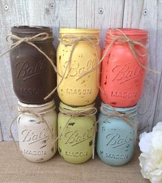 Pint Mason Jars Coral Yellow Brown Teal Painted, farmhouse décor, shabby chic decor  by LacyBellesBoutique