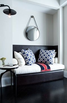Suzie: Tamara Magel - Fantastic sitting area with soft gray walls paint color, leather captains ...