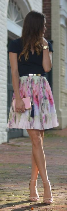 Floral Pleated Skirt by The Quarter Life closet