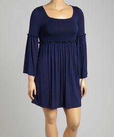 Look what I found on #zulily! Navy Bell-Sleeve Empire-Waist Dress - Plus #zulilyfinds