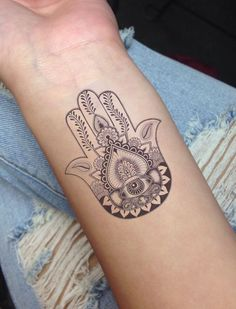 Hamsa hand with eye,  out diamond above. And add spots of color. Shaded diamond