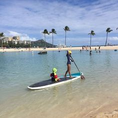 Instagram의 youlah님: 인공바다에서 스탠딩카누 타기 #standingpaddle #youlah #lagoon beach #hawaii #유라 #스탠딩패들 #하와이