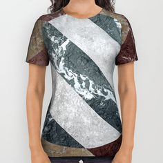 Womens T-Shirt 3D Grey Marble Surface Golden Line Print Summer Short Sleeve T-Shirt Top Casual Blouse Tee