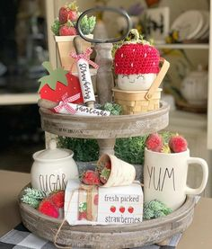 Bee Bundle/Bee signs/honey signs/bee decor/3D signs/summer | Etsy Strawberry Kitchen, Strawberry Decorations, Tray Styling, Wooden Books, Tiered Stand, Stack Of Books, Tray Decor, Farmhouse Decor, Target Farmhouse