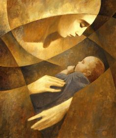 This could be any mother loving her child. The image is one of Beauty! It is done in a very modern way.
