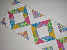 """Easter Quilted Table Runner, Spring Table Runner, Scrappy Pastel Easter Table Mat, 36""""x12"""", Quiltsy Handmade by VillageQuilts on Etsy"""