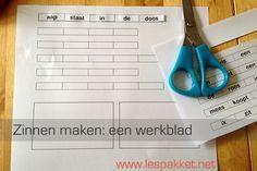 Zinnen maken: een werkblad - jufBianca.nl - zinnenwerkblad - veilig leren lezen - kern 1 t/m 3